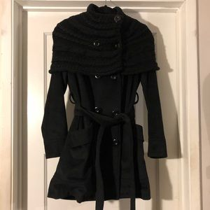 Black coat with knit overlay